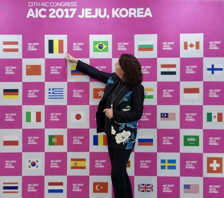 Jeannette points to Belgian memebership of ICA-Belgium at AIC 2017, Korea